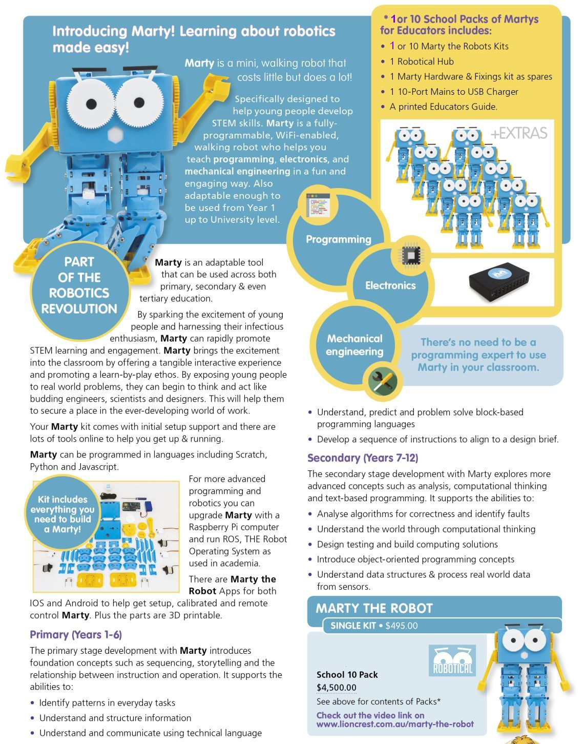 MARTY_p163-2 Marty the Robot  |  Stem Kits Technology ict Resources |  Lioncrest Education
